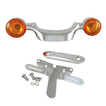 V-Factor Chrome Bullet Turn Signal Bar & License Plate Relocation Kit for 1998-2008 Harley-Davidson Touring models