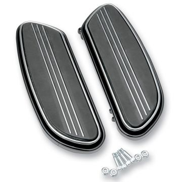 Black Streamliner Styled Front Floor Board Kit for 1997 & Newer Harley-Davidson Softail &Touring models