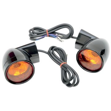 Gloss Black Bullet Style Front Turn Signals for 1997 and Newer Harley-Davidson Touring models
