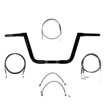 "1 1/4"" BBlack 10"" Twin Peaks Handlebar Kit 2011-2015 Harley Softail No ABS"