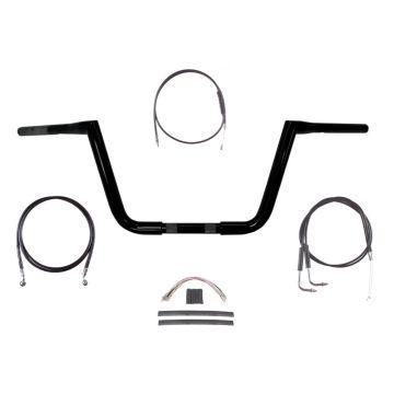 """1 1/4"""" BBlack 10"""" Twin Peaks Handlebar Kit 2007-2010 Harley-Davidson Softail"""