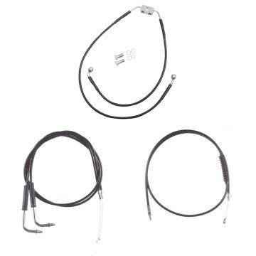 "Basic Black Cable Brake Line Kit for 18"" Handlebars on 2012 & Newer Harley-Davidson Dyna Models with ABS Brakes"