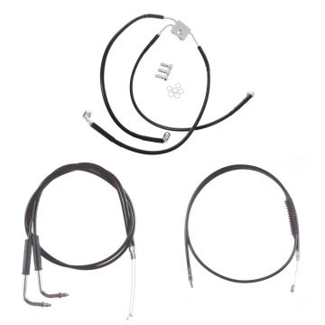 """Black +10"""" Cable & Brake Line Bsc DD Kit for 2012 & Newer Harley-Davidson Dyna models with ABS brakes"""