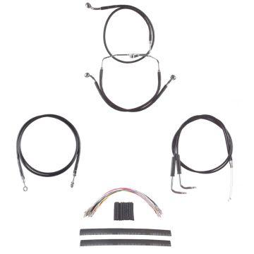 """Black Vinyl Coated +10"""" Cable & Line Complete Kit for 2009-2010 Harley-Davidson Dyna Fat Bob CVO"""