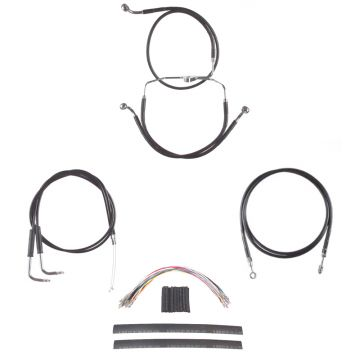 "Complete Black Vinyl Coated Clutch and Brake Line Kit for 14"" Handlebars on 2004-2007 Harley-Davidson Electra Glide Classic SE and Ultra Classic SE Models with Cruise Control"