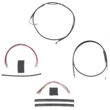 "Complete Black Cable Brake Line Kit for 14"" Handlebars on 2008-2013 Harley-Davidson Touring Models with ABS Brakes"