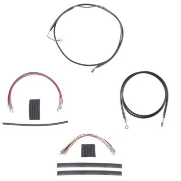 """Complete Black Vinyl Coated +14"""" Clutch Brake Line Kit for 2008-2013 Harley-Davidson Touring Screaming Eagle and CVO models with ABS brakes"""