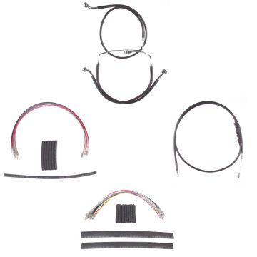 "Black +14"" Cable Brake Line Complete Kit for 2008-2013 Harley-Davidson Touring models without ABS brakes"
