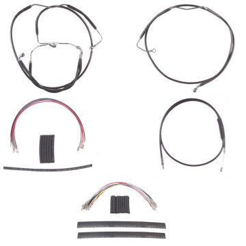 "Black +6"" Cable Brake Line Mstr Kit for 2008-2013 Harley-Davidson Touring with ABS brakes"