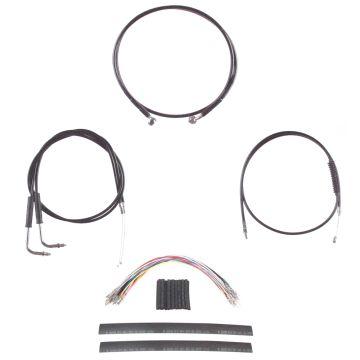 "Black +12"" Cable & Brake Line Cmpt Kit for 2006 & Newer Harley-Davidson Dyna without ABS brakes"