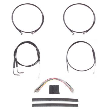 "Black Cable & Brake Line Mstr Kit 14"" for Apes on 2011-2015 Harley-Davidson Softail with ABS brakes"