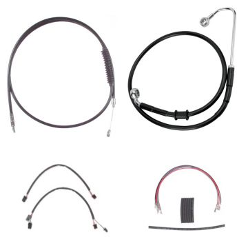 "Complete Black Cable Brake Line Kit for 12"" Handlebars on 2016-2017 Harley-Davidson Softail Models with ABS Brakes"