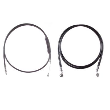 "Basic Black Cable Brake Line Kit for 12"" Handlebars on 2016-2017 Harley-Davidson Softail Models without ABS Brakes"