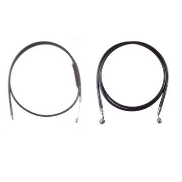 "Black +4"" Cable & Brake Line Bsc Kit for 2018 & Newer Harley-Davidson Softail Models without ABS brakes"
