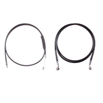 "Basic Black Cable Brake Line Kit for 12"" Handlebars on 2018 & Newer Harley-Davidson Softail Models with ABS Brakes"
