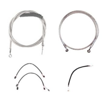 "Complete Stainless Cable Brake Line Kit for 14"" Handlebars on 2018 & Newer Harley-Davidson Softail Models without ABS Brakes"
