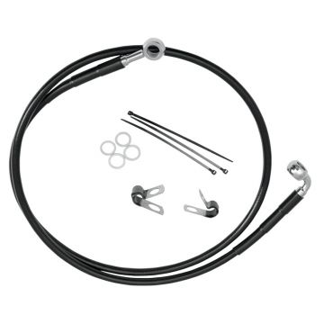 "+2"" Over Stock Front Black Vinyl Coated Brake Line for 1990-1999 Harley-Davidson Softail FXSTC & 1993-2005 Dyna FXDWG models"