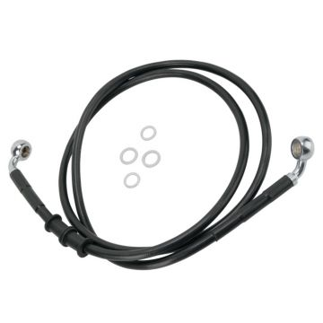 "+10"" Over Stock Front Black Vinyl Coated Brake Line for 2010 & Newer Harley-Davidson Dyna Wide Glide models"