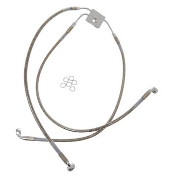 "+10"" Over Stock Front Stainless Braided Upper ABS Brake Line for 2012 & Newer Harley-Davidson Dyna Fat Bob with ABS brakes"