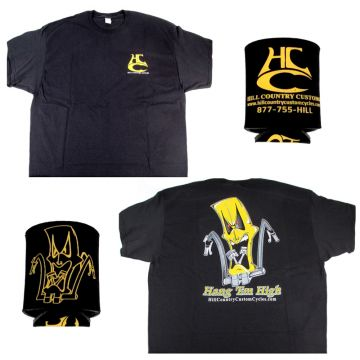 Hill Country Custom Cycles Large Black Logo T-Shirt with Black Koozie set