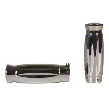 Chrome Billet Style Barrel Profile Grips for 1985 and Newer Harley-Davidson models with Throttle Cables