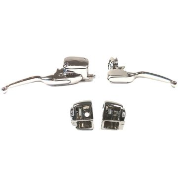 Chrome Handlebar Control kit for 1996-2007 Harley-Davidson Road King models without Cruise Control