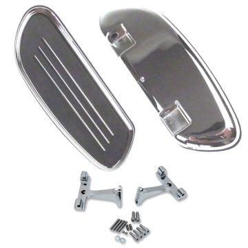Chrome Streamliner Styled Passenger Floor Boards Kit for 1997 & Newer Harley Davidson Touring models