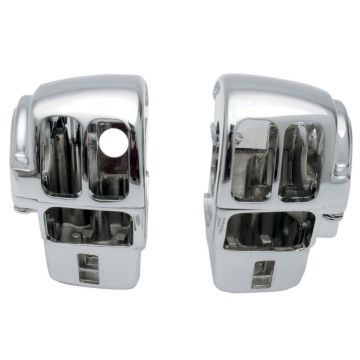 Chrome Handlebar Switch Housings for 1997-2013 Harley-Davidson Touring models with AM-FM radio only