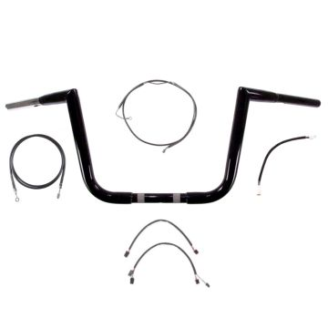 "1 1/4"" BBlack 10"" Jarhead Ape Handlebar Kit 2017 & Up Harley Road King w/ABS"