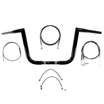 """1 1/4"""" BBlack 10"""" Jarhead Ape Handlebar Kit 2011-2015 Harley Softail No ABS"""