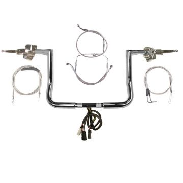 La Choppers Twin Peaks Ape Hanger Handlebar COMPLETE KIT for 1997-2013 Street Glide, Electra Glide, and Ultra Classic Harley Davidson (Handlebar Kit)