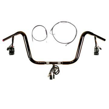 "1 1/4"" BBlack 10"" Prewired Bar Kit 2008-2013 Harley Road Glide No Cruise w/ABS"