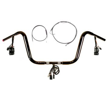 "1 1/4"" BBlack 10"" Prewired Bar Kit 2008-2013 Harley Road King No Cruise w/ABS"