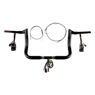 "1 1/4"" BBlack 10"" PrimeApe Prewired Bar Kit 2008-2013 Harley Electra Glide w/ABS"