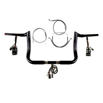 "1 1/4"" BBlack 10"" PrimeApe Prewired Bar Kit 2008-2013 Harley Street Glide No ABS"