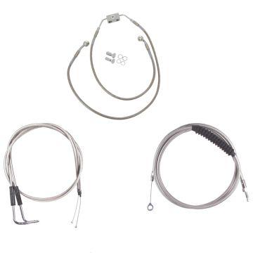 "Basic Stainless Cable Brake Line Kit for 16"" Handlebars on 2012 & Newer Harley-Davidson Dyna Models with ABS Brakes"