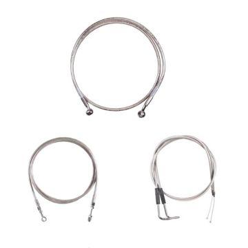 """Basic Stainless Cable Brake Line Kit for 12"""" Tall Ape Hanger Handlebars on 2003-2006 Harley-Davidson Softail Deuce Fat Boy CVO models"""