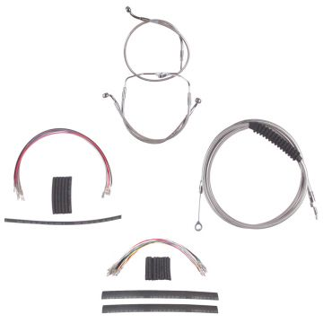 "Complete Stainless Cable Brake Line Kit for 14"" Handlebars on 2008-2013 Harley-Davidson Touring Models without ABS Brakes"