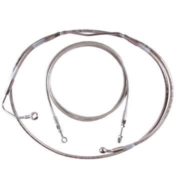 """Basic Stainless Clutch Brake Line Kit for 14"""" Handlebars on 2017 and Newer Harley-Davidson Road King Models with ABS Brakes"""
