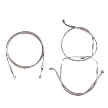 """Basic Stainless Clutch Brake Line Kit for 14"""" Handlebars on 2017 and Newer Harley-Davidson Road King Models without ABS Brakes"""