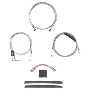 "Stainless +10"" Cable & Brake Line Cmpt Kit for 1990-1995 Harley-Davidson Softail models"