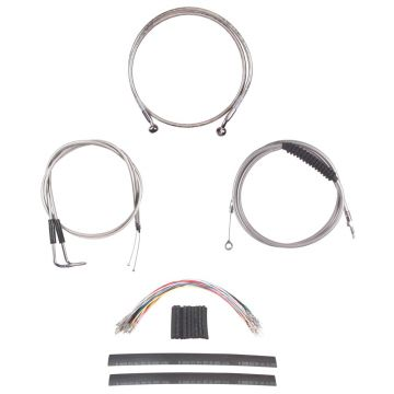 """Complete Stainless Cable Brake Line Kit for 12"""" Handlebars on 2007-2015 Harley-Davidson Softail Models without ABS Brakes"""