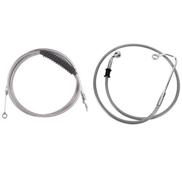 Basic Stainless Cable Brake Line Kit for Stock Handlebars on 2016-2017 Harley-Davidson Softail Models with ABS Brakes