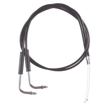 "Black Vinyl Coated +2"" Throttle Cable set for 1990-1995 Harley-Davidson Electra Glide models without Cruise Control"