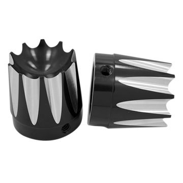 RC Components Gloss Black Excalibur Front Axle Nut Covers for 2008-2013 Harley-Davidson Touring Models