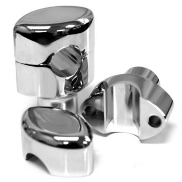 "Chrome 1.5"" Rise, 1"" Mount, Smooth LA Chopper Risers for Harley-Davidson"