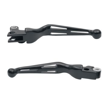Satin Black Slotted Wide Blade Levers for 1999-2014 Harley-Davidson Softail models