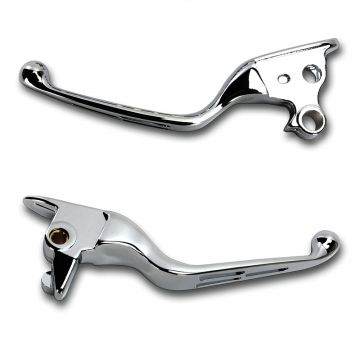 Chrome Slotted Wide Blade Levers for 2015-2017 Harley-Davidson Softail models with clutch cable