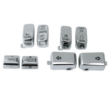 Chrome 8 Pc Switch Cap Set for 1996-2013 Harley-Davidson Touring models with Radio only