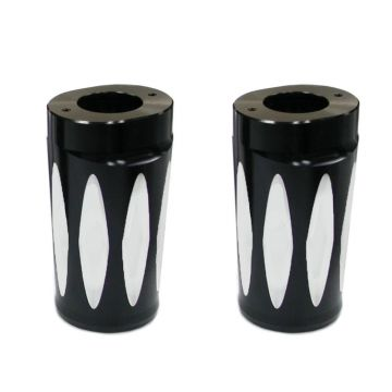 V-Factor Black Contrast Cut Hornet Style Billet Front Fork Slider Covers for 1997-2013 Harley-Davidson Touring models